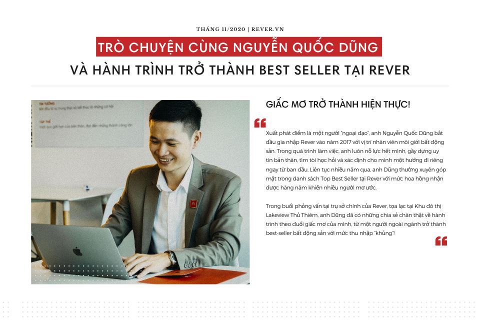 Trò chuyện cùng Nguyễn Quốc Dũng và hành trình trở thành Best Seller tại Rever